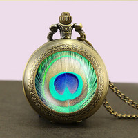 Peacock feather Locket necklace,Peacock feather Locket Necklace,Glass Pocket Watch Necklace