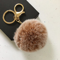 New! Frosted brown Fur pom pom keychain fur ball bag pendant charm