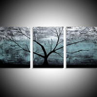 "ARTFINDER: triptych multi color 3 panel wall art color turquoise black white impasto tree in wood ""The Tree of life"" turquoise edition 3 panel wall abstract canvas abstraction 48 x 20 "" other sizes available by Stuart Wright - ""The Tree of Life"" impasto tr"