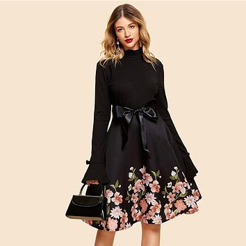 Vintage Self Tie Floral Print Dress Elegant Women Belted Long Sleeve Dresses A Line Dress