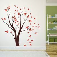 Wall Decal Autumn Tree with Falling Leaves Vinyl Wall Decal 22457
