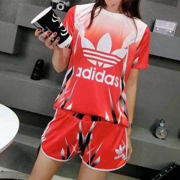 """""""Adidas"""" Women Casual Fashion Gradient Color Letter Print Short Sleeve Shorts Set Two-Piece Sportswear"""