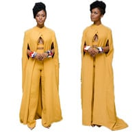 3 piece set 2016 autumn Women Maxi Dress yellow Dashiki Cape Vintage solid Dashiki Dress slim turtleneck women Sundress Vestidos