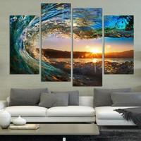 Modern Home Decor 4 Panel Modern Seascape Painting Canvas Art HDSea wave Landscape Wall Picture For Bed Room Unframed /PT0025