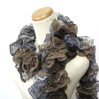Brown and Gray Hand Knit Ruffled Scarf