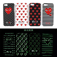 New York Angeles Brand Comme des garcons Phone cases for iphone 6 7 6s Plus Heart lumious Coque  comme des garcon luxury case