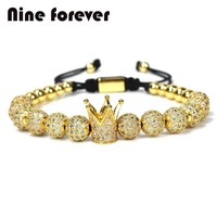 Nine forever jewelry crown charms Bracelet couple Bracelets for men  women pulseira masculina pulseira feminina bileklik