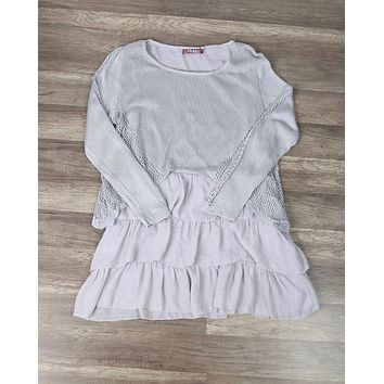 Layered Crochet Contrast Tunic in Grey