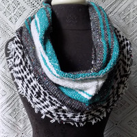 Turquoise Mexican Blanket Small Cowl Scarf- Free Shipping to Continental US