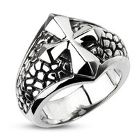 Crusader – FINAL SALE Oxidized silver stainless steel cross pebbled band men's ring
