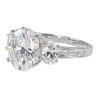 Three Stone CZ Ring .925 Sterling Silver Oval Cubic Zirconia 9mm x 11mm