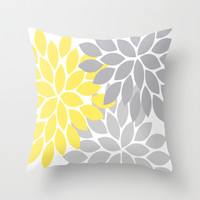 Bold Colorful Yellow Gray Dahlia Flower Burst Petals Throw Pillow by TRM Design
