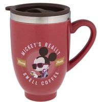 Disney Parks Mickey Really Swell Coffee Ceramic Travel Mug New