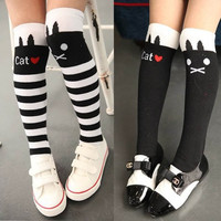 Kids Girls Thigh High Striped Stockings Cute Cat Pattern Over Knee Cotton Stock For 1-8Y