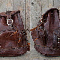 Vintage 80's Brown Leather Bohemian Mini Daypack Backpack