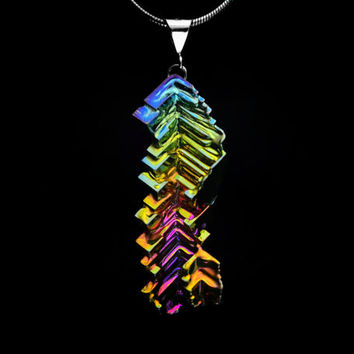 Color Bends, Bismuth Metal Crystal and Sterling Pendant, Silver plated or Leather Necklace, Fractal, Unique, Jewelry