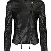Black Faux Leather Jacket with Front Zippers