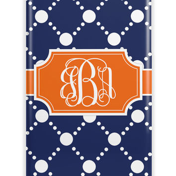 Preppy navy blue with orange - Customized Iphone case