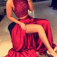 Two Pieces Burgundy Prom Dresses 2017 High Neck Beads Crystals Long Satin High Slit Women Formal Party Dress Graduation Gowns
