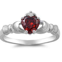 Sterling Silver Red Garnet CZ Irish Claddagh Ring Size 5-10