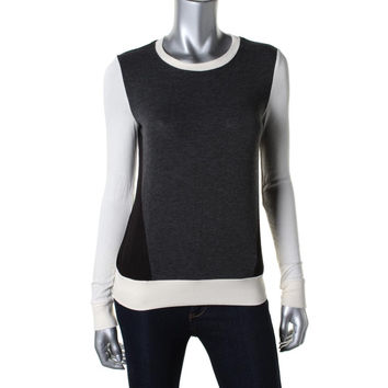 Three Dots Womens Heathered Colorblock Knit Top