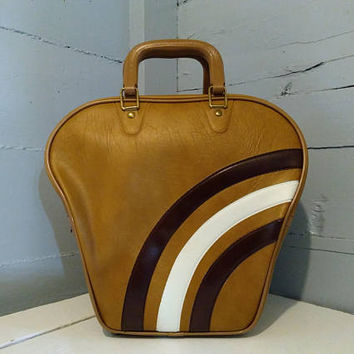 Vintage, Bowling Bag, Large, Vinyl, Bowling, Caramel, Brown and Ivory, Retro, Photo Prop, Bowling Accessories, RhymeswithDaughter