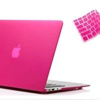 """RUBAN™ 2 in 1 Hard Case Cover and Keyboard Cover for Macbook Air 13-inch 13"""" A1369 A1466 (MATTE HOT PINK):Amazon:Cell Phones & Accessories"""