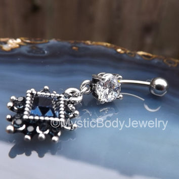 """Belly Button Ring 14g 7/16"""" Silver Blue Diamond Gemstone Navel Piercing Rings Stone Charm Stainless Piercings Curved Barbell Bars Prong Set"""