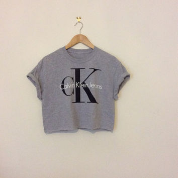 classic grey oversize slouchy sexy calvin klein ck swag style crop top tshirt fresh boss dope celebrity festival clothing fashion urban unq