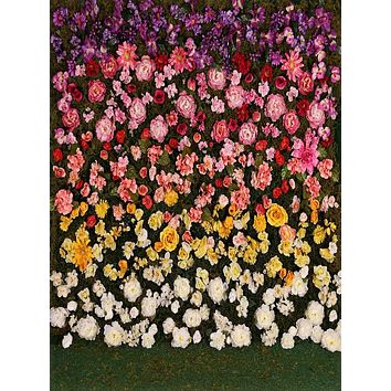 Printed Gradient Rose Flower with Grass Floor Backdrop - 6128