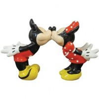 Westland Giftware Mickey InspEARations Kissing Mickey and Minnie 4-1/4-Inch Magnetic Salt and Pepper Shakers