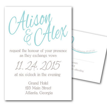 Printable Wedding Invitation Names Template and RSVP Card - Printable File - DIY invites - bride and groom