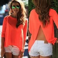 Imvation Women Sexy Loose Casual Backless Chiffon Tees Shirt Tops Blouse