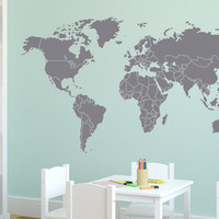 "Wall Decal Large World Map with Countries Borders 72"" Wall Vinyl Decal Sticker"