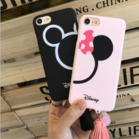 NEW Fashion Cute Cartoon Tassel Mickey Minnie Head Couple Case for iPhone 6s 7 7plus 6/6splus Star Coque [Valentine's Day Gift]