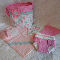Doll Diaper Bag Set, Pink and Blue Birds, Includes Bag, Changing Pad, Diapers, Burp Cloth, Wipes and Case
