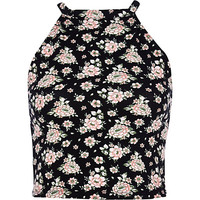 River Island Womens Black ditsy floral racer front crop top