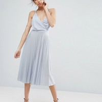 ASOS Blouson Wrap Pleated Midi Dress at asos.com
