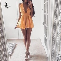 Summer style satin ruffles elegant jumpsuit romper Deep v neck sexy playsuit Women halter loose short beach overalls