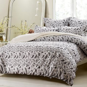 5PC BLACK AND WHITE PAISLEY DUVET COVER SET STYLE # 1023 -CHERRY HILL COLLECTION
