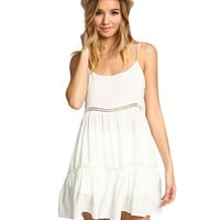 Lace Spaghetti Strap A-Line Ruffled Mini Dress