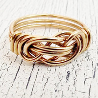 Infinity 12k Gold Filled  Ring Love Knot Wire Wrapped Ring