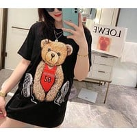 """Moschino"" Woman Casual Fashion Letter Solid Color Bear Printing Loose Large Size Short Sleeve T-Shirt Tops"