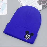 Mickey Mouse Beanie Unisex Warm Winter High Quality Lovely Womens & Mens Knitted Ski Cap Blue Cuffed Skully Hat