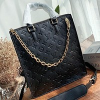 LV Fashion New Monogram Print Leather Shoulder Bag Crossbody Bag Handbag Black
