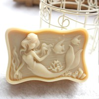 Grainrain Silicone molds free shipping DIY soap moulds mermaid 05