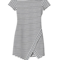 OLIVACEOUS White/Navy Striped Dress