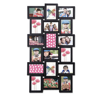 """Adeco Decorative Black Polyresin Wall Hanging Collage Picture Photo Frame, 18 Openings, 4x6"""""""