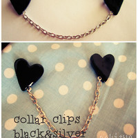 Collar clip / Brooch in black with silver chain - vintage style