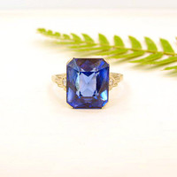 Striking Art Deco Ring, Big Blue Emerald Cut Synthetic Sapphire with Diamonds, 18K White Gold with Great Style